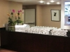 Escort card table with gorgeous orchid garden in cut glass