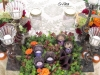Bride and grooms table using wild flowers atop bed of succulents finished with wrought iron