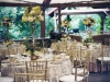 Pavilion with birch topiaries lush with hydrangeas, wild greens and lush flora