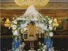 Chuppah in the round using deep jewel tones